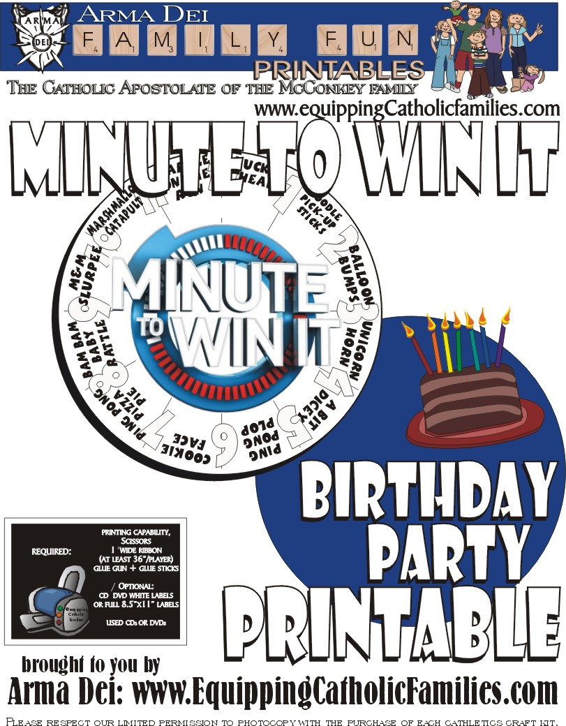 Minute To Win It with FREE Printable