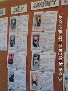 Saints Calendar Pinboard