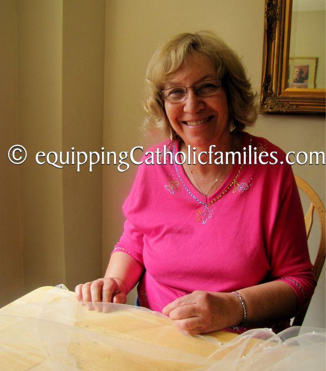Grandma making veil