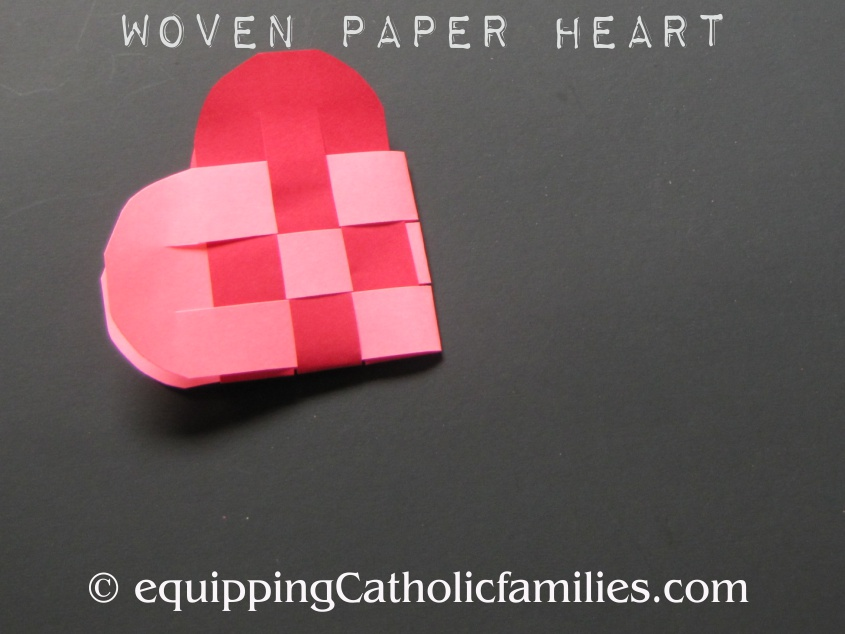 Woven Paper Heart Craft for Sacred and Immaculate Heart Feast Days!