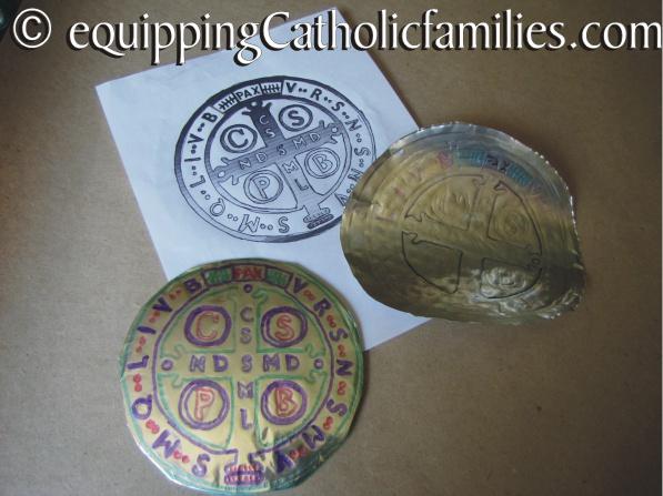 St Benedict foil medal craft 2