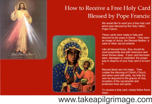 free prayer card blessed by Pope Francis