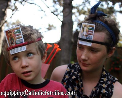 HedBanz with the #SuperSaints #converted2BCatholic #CatholicCrafts