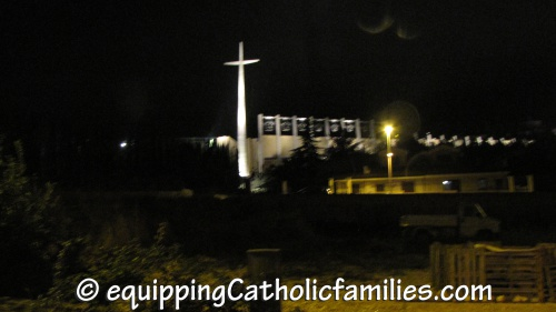 St Padre Pio Shrine at night