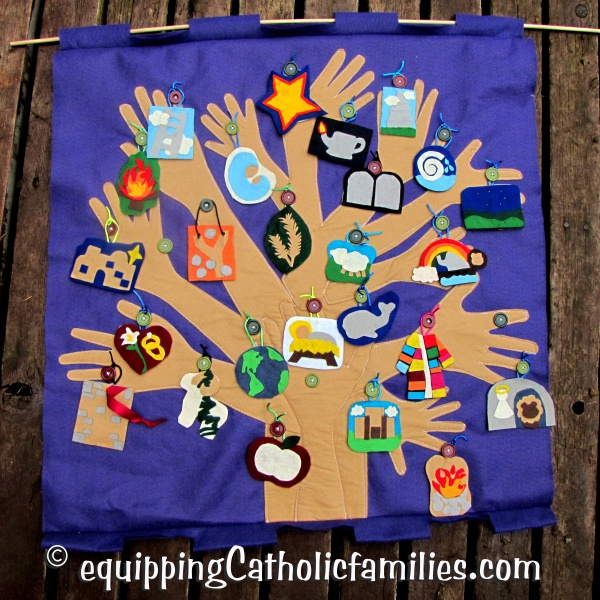 Jesse Tree ornaments on Handprint Banner