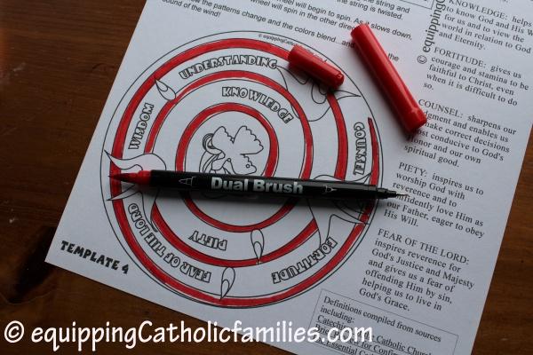 Dual Brush coloring the Holy Spirit Spinwheel